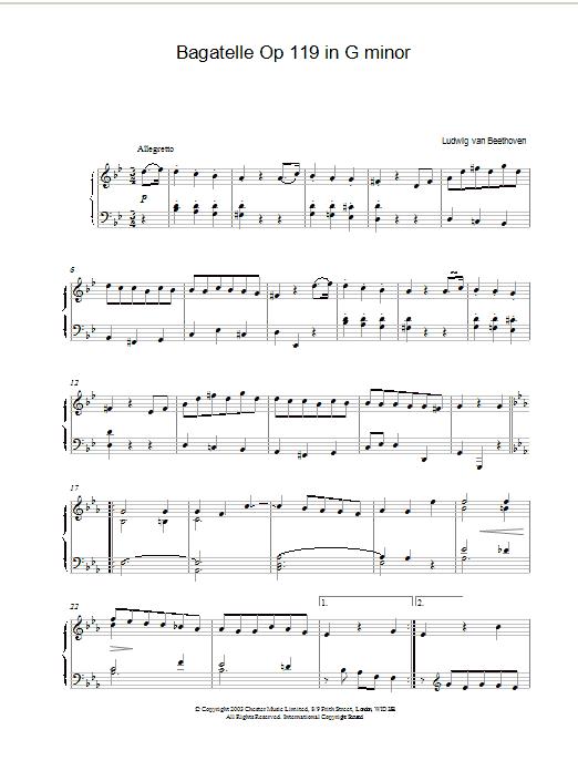Bagatelle Op 119 in G minor (Piano Solo)
