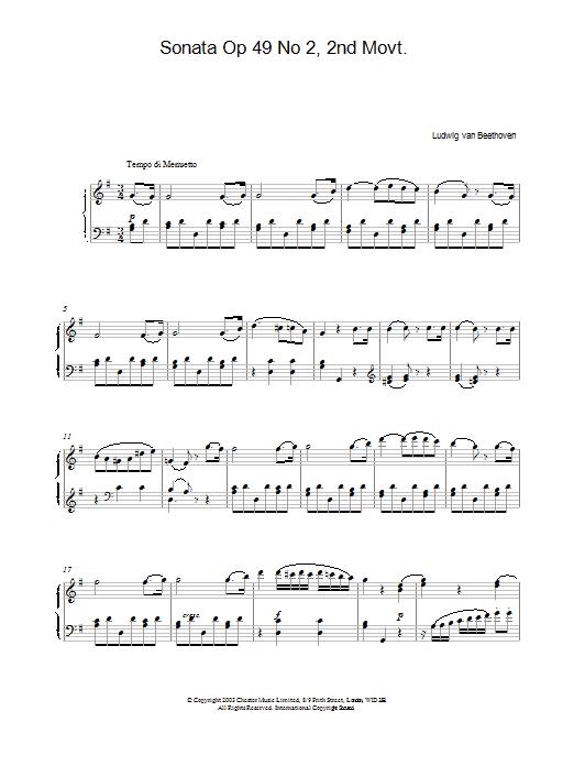 Sonata Op. 49 No. 2, 2nd Movement Sheet Music
