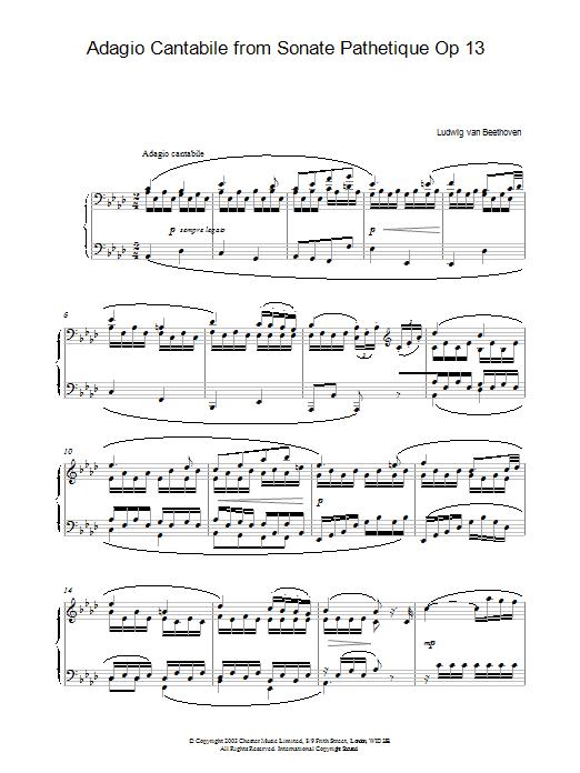 Adagio Cantabile from Sonate Pathetique Op 13 (Piano Solo)