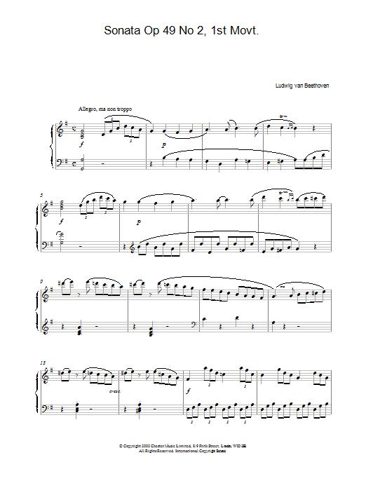 Sonata Op 49 No 2, 1st Movt. (Piano Solo)
