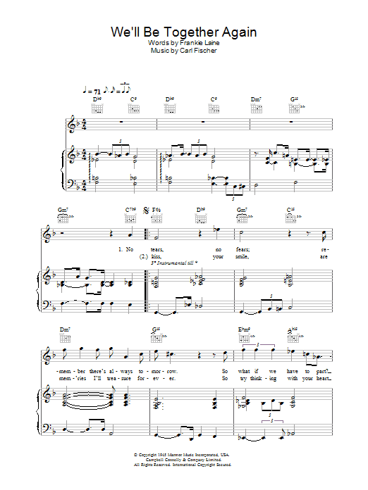 We'll Be Together Again Sheet Music