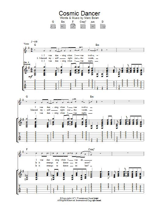 caractéristiques exceptionnelles grand choix de 2019 Nouvelles Arrivées Cosmic Dancer by T. Rex Guitar Tab Digital Sheet Music
