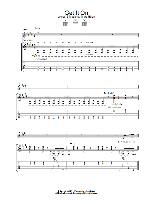 Bang A Gong (Get It On) (Guitar Tab)