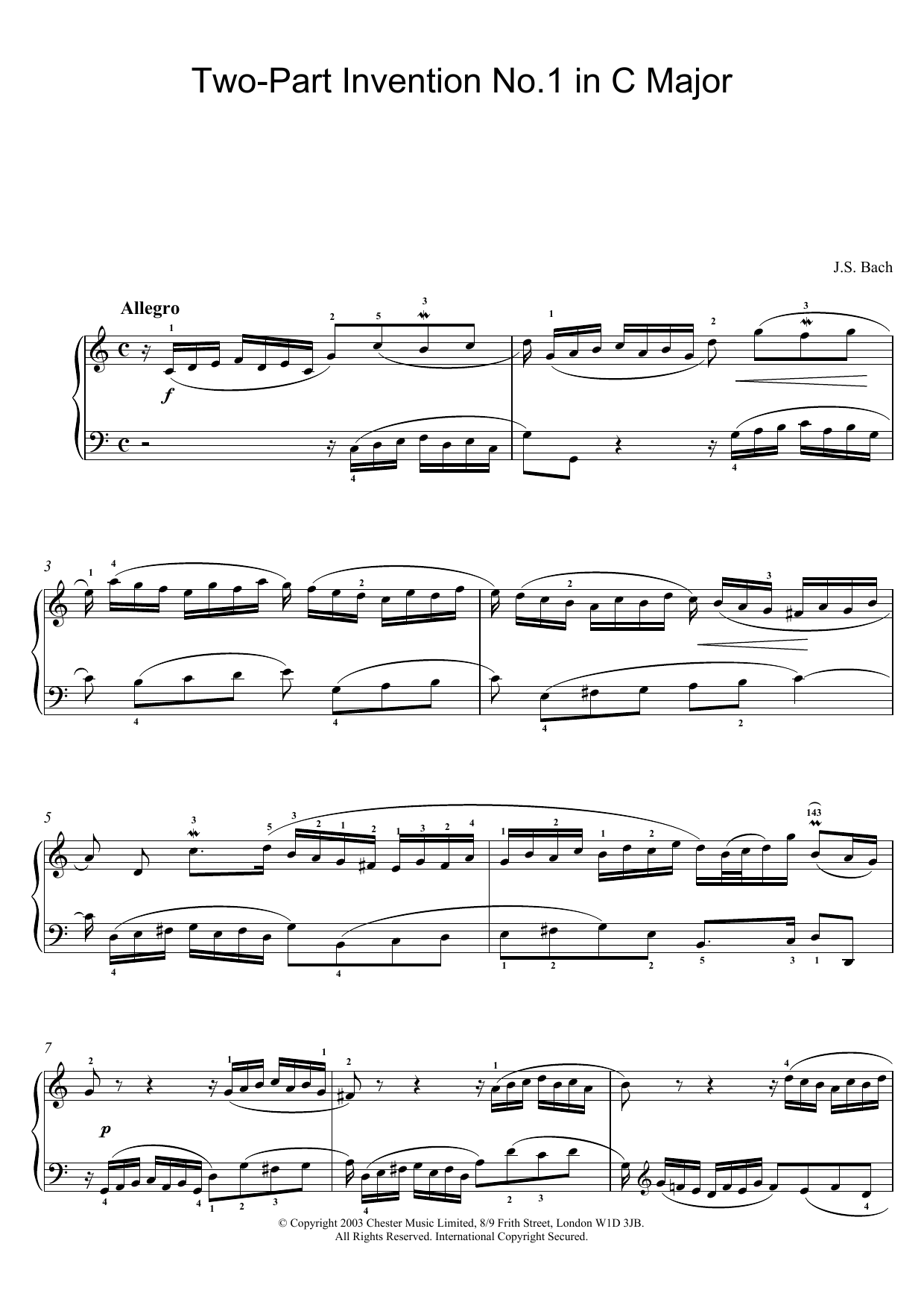 Two-Part Invention No. 1 in C Major Digitale Noten