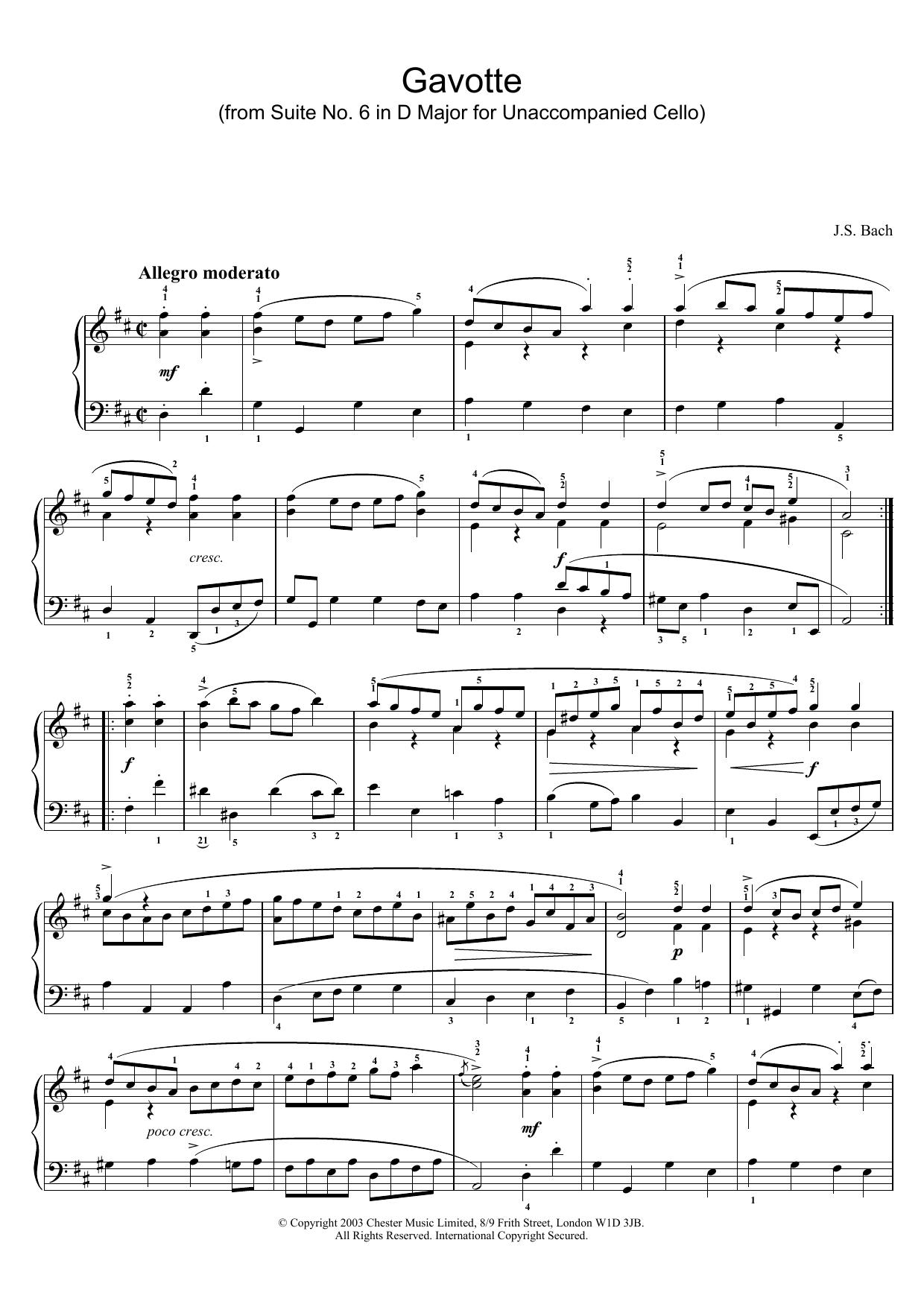 Gavotte (from Suite No. 6 in D Major for Unaccompanied Cello) (Piano Solo)
