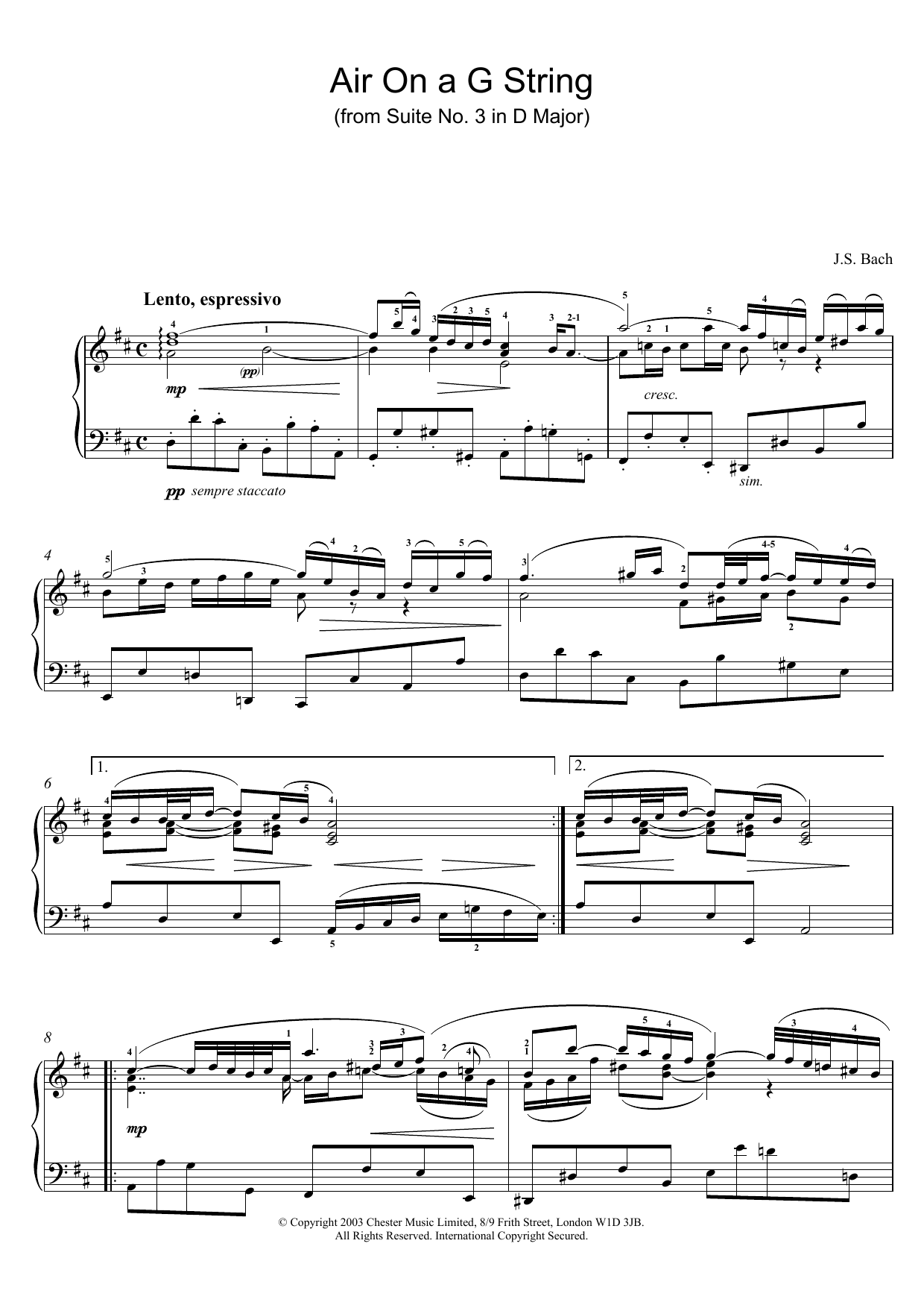 Air On The G String (from Suite No.3 in D Major) (Piano Solo)