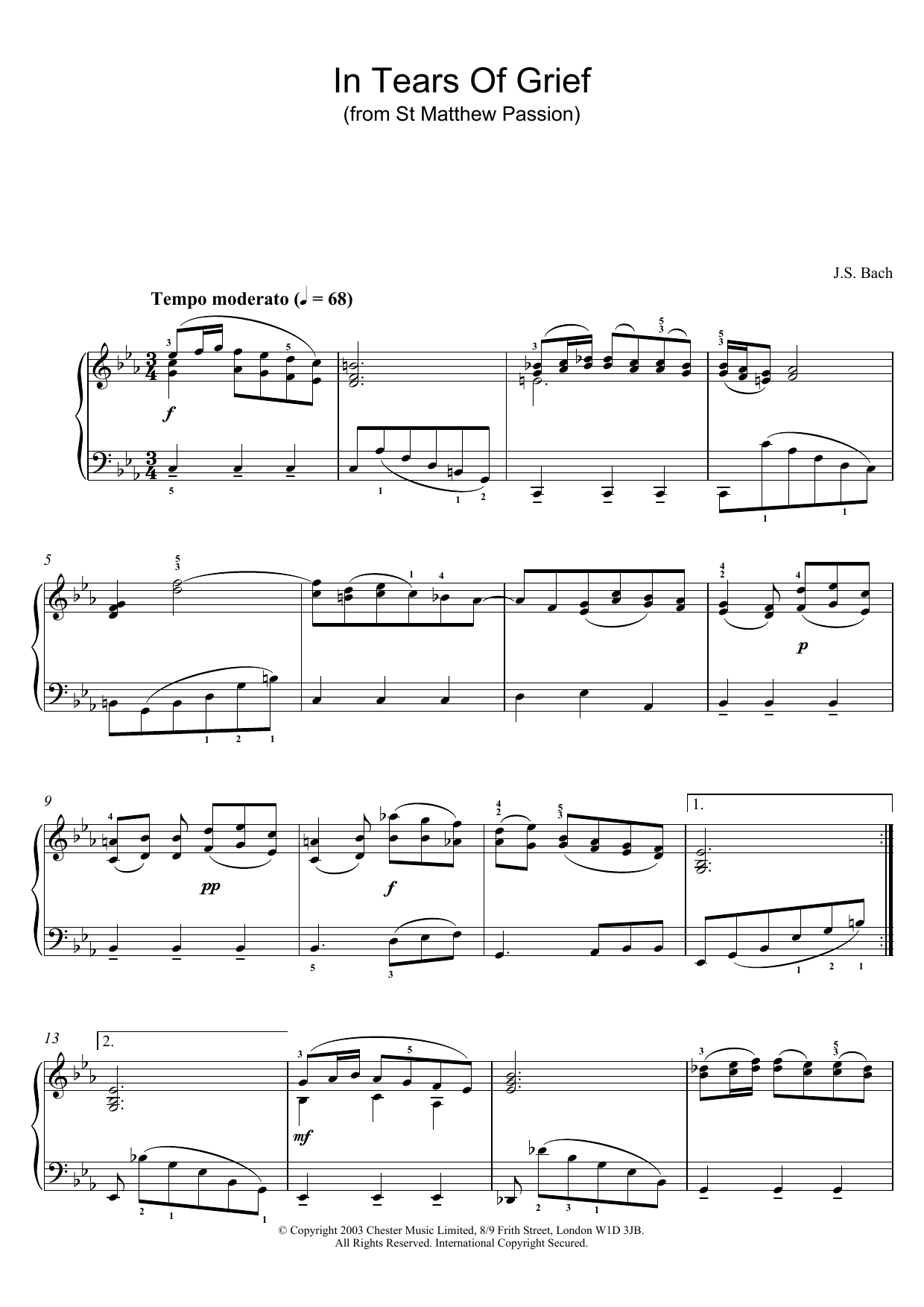 In Tears Of Grief (from St Matthew Passion) (Piano Solo)