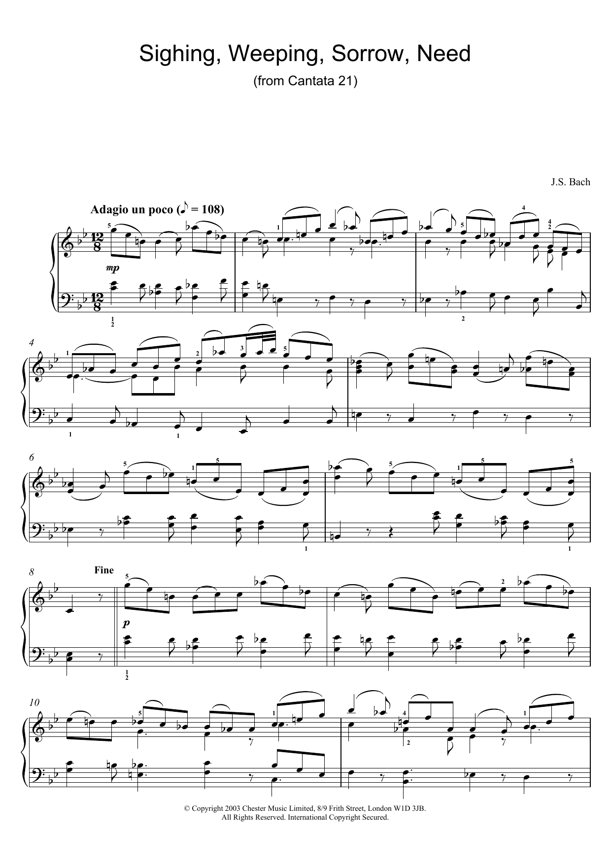 Sighing, Weeping, Sorrow, Need (from Cantata 21) (Piano Solo)