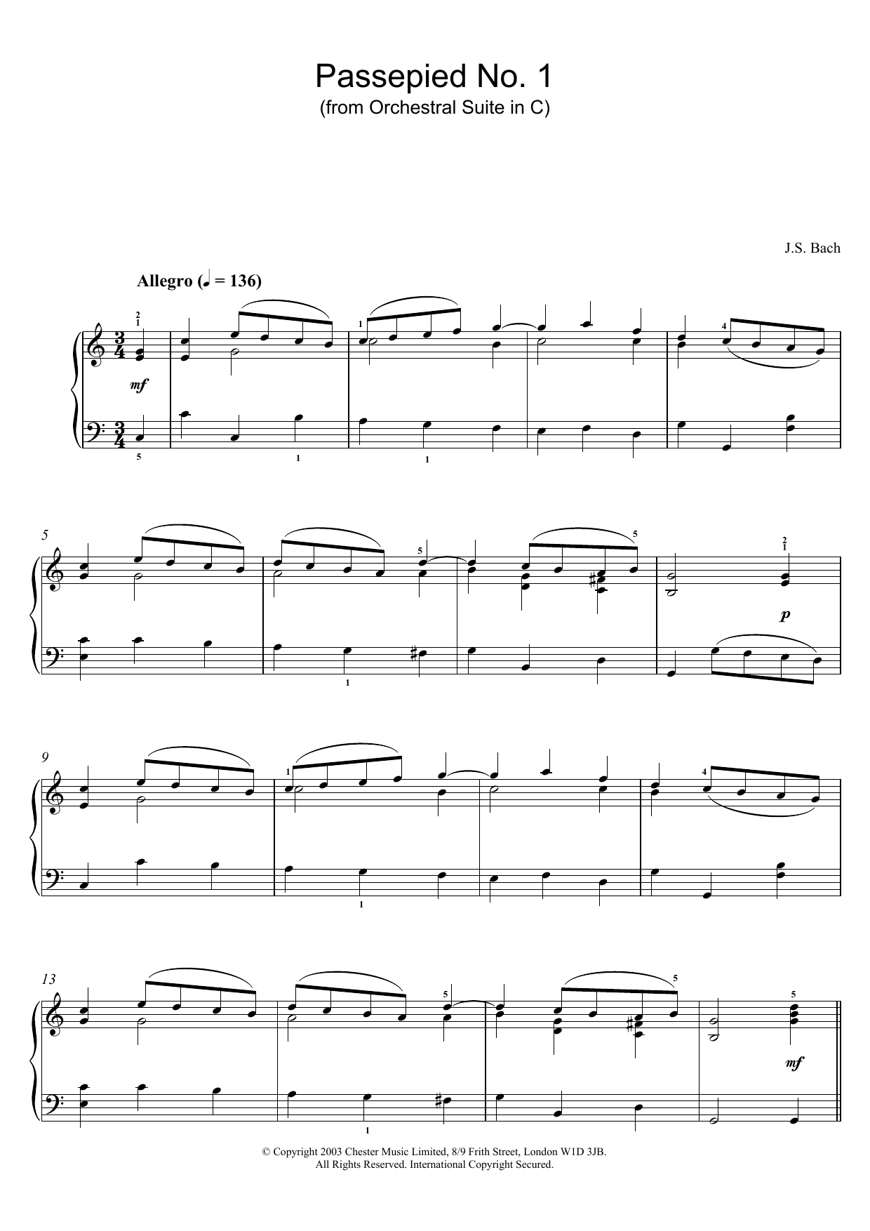 Passepied No. 1 (from Orchestral Suite in C) (Piano Solo)