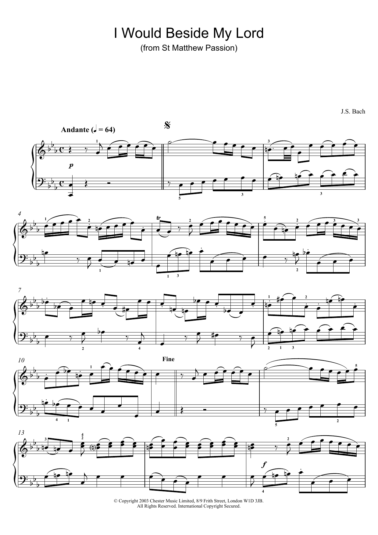 I Would Beside My Lord (from St Matthew Passion) (Piano Solo)