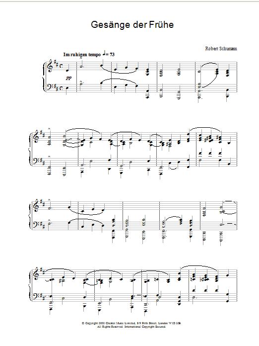 Gesänge der Frühe Sheet Music