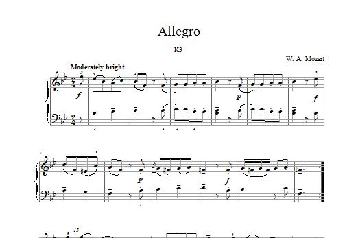 Allegro K3 Sheet Music