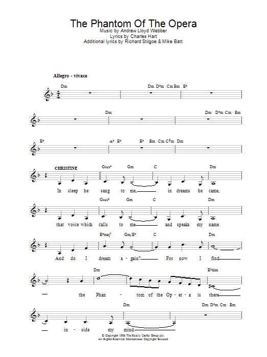 The Phantom Of The Opera Chords By Andrew Lloyd Webber Melody Line