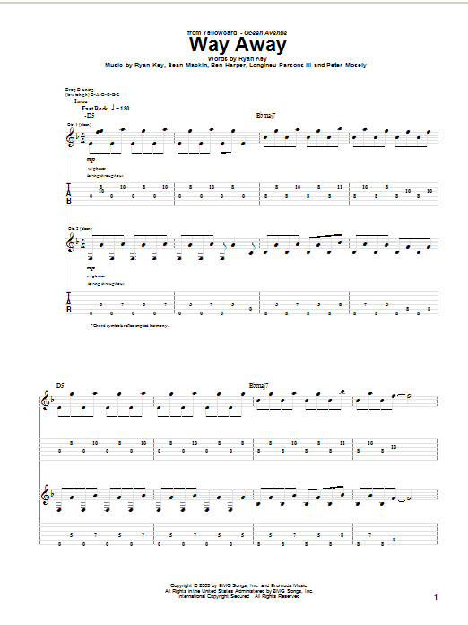 Tablature guitare Way Away de Yellowcard - Tablature Guitare