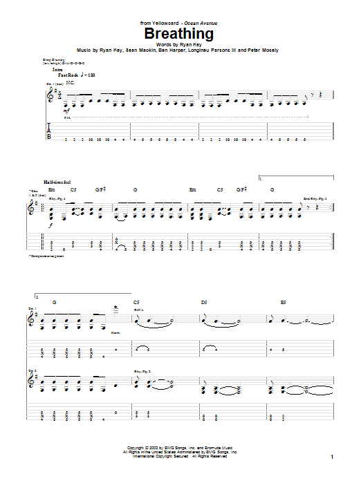 Tablature guitare Breathing de Yellowcard - Tablature Guitare