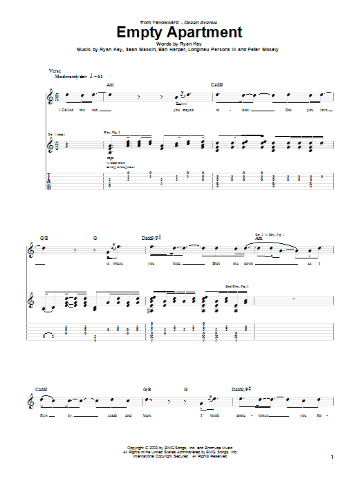 Empty Apartment (Guitar Tab)