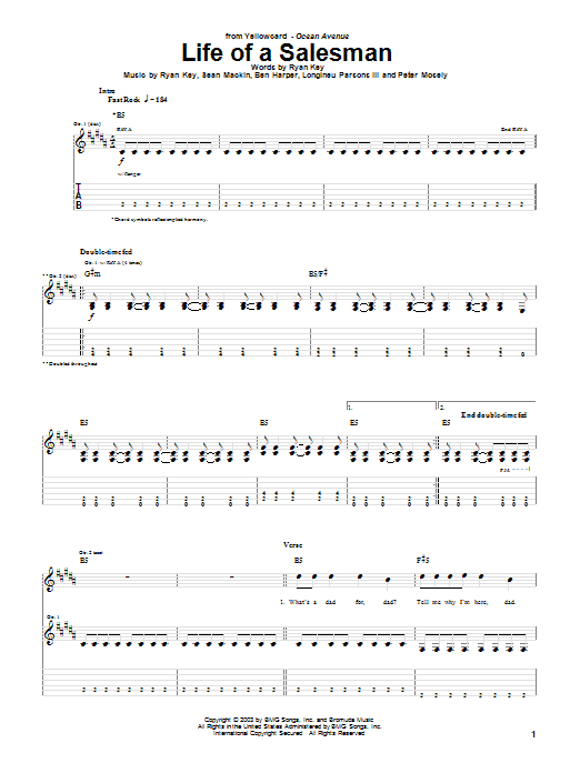 Tablature guitare Life Of A Salesman de Yellowcard - Tablature Guitare
