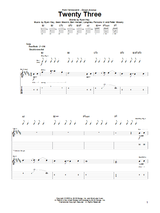 Tablature guitare Twenty Three de Yellowcard - Tablature Guitare
