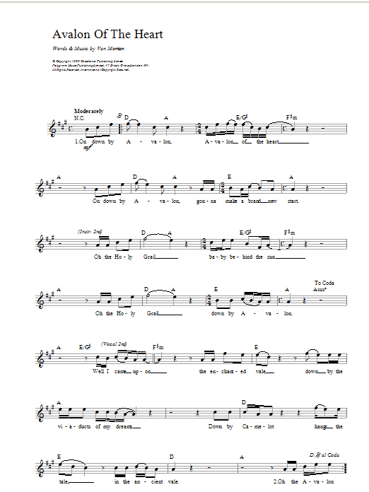Avalon of The Heart Sheet Music