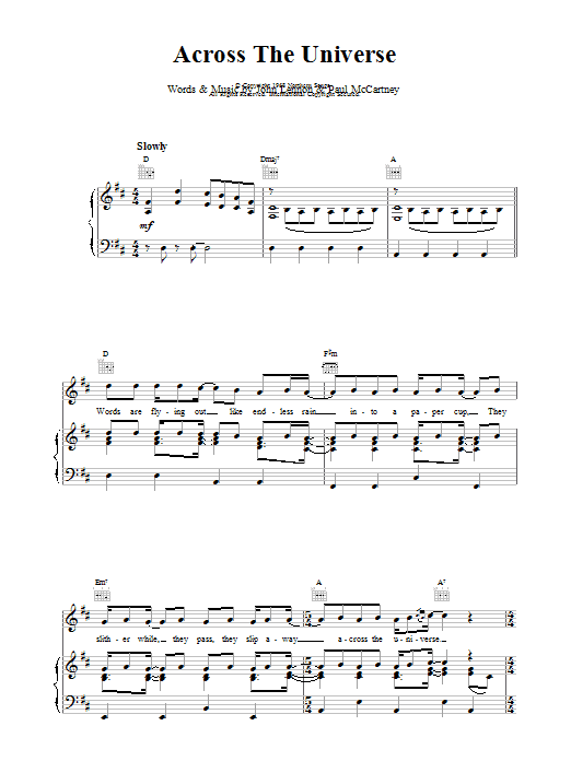 Across The Universe Sheet Music