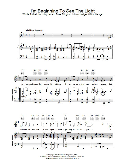 I'm Beginning To See The Light Sheet Music