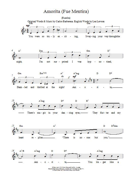 Amorita (Fue Mentira) Sheet Music