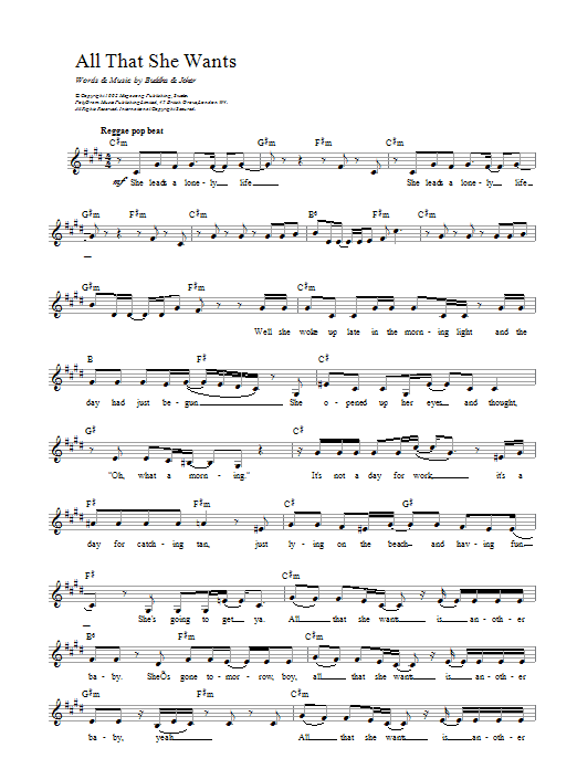 All That She Wants Sheet Music
