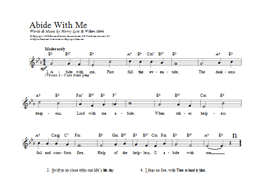 Abide With Me William H Monk Melody Line Chords