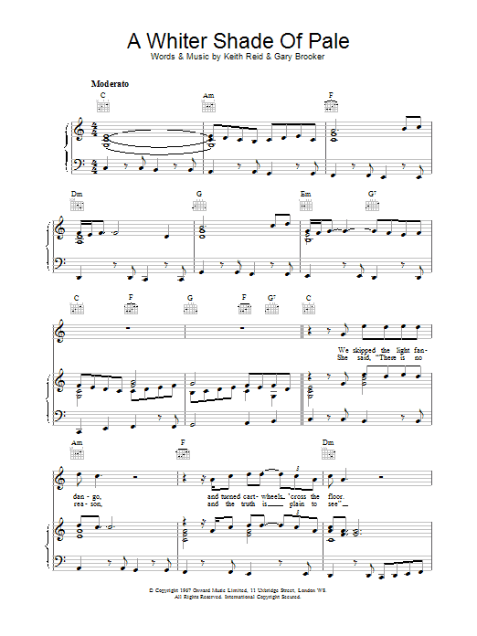 A Whiter Shade Of Pale (Piano, Vocal & Guitar)