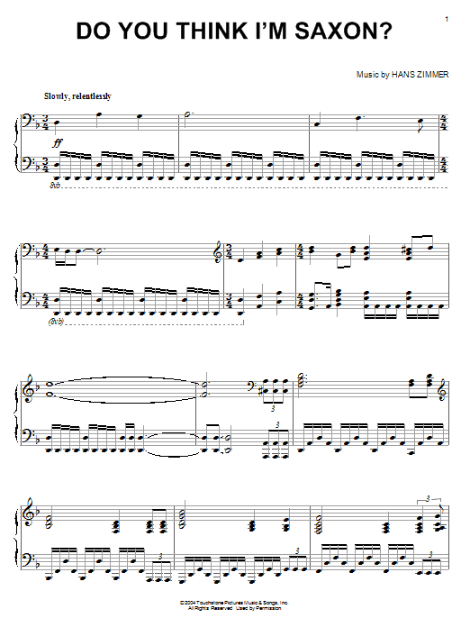 Partition piano Do You Think I'm Saxon? (from King Arthur) de Hans Zimmer - Piano Solo