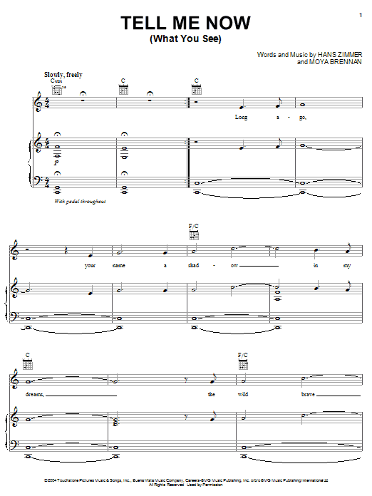 Tell Me Now (What You See) (from King Arthur) Sheet Music