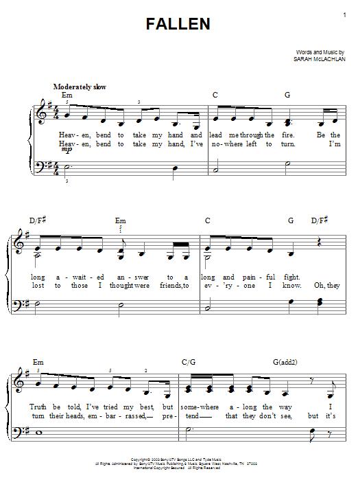 Partition piano Fallen de Sarah McLachlan - Piano Facile