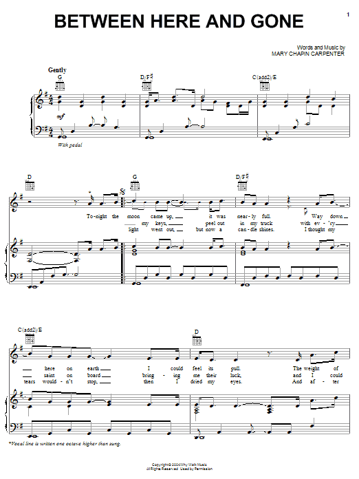 Between Here And Gone Sheet Music