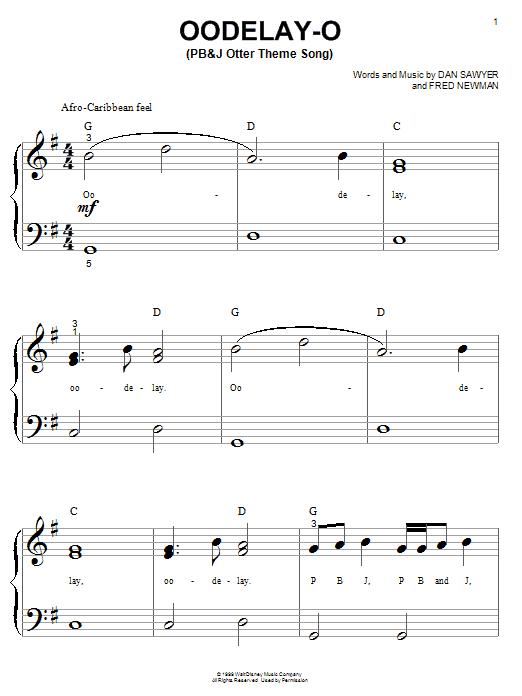 Partition piano Oodelay-O (PB&J Otter Theme Song) de Dan Sawyer - Autre