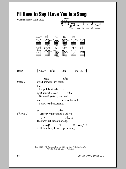 Ill Have To Say I Love You In A Song Sheet Music Direct