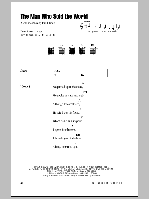 The Man Who Sold The World | Sheet Music Direct
