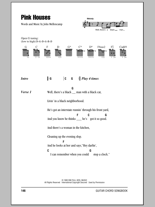 Pink Houses Sheet Music John Mellencamp Lyrics Chords