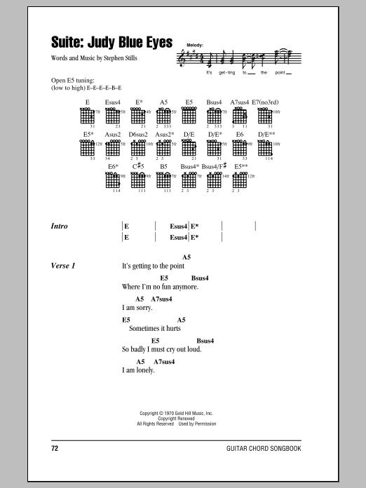 Suite: Judy Blue Eyes (Guitar Chords/Lyrics)