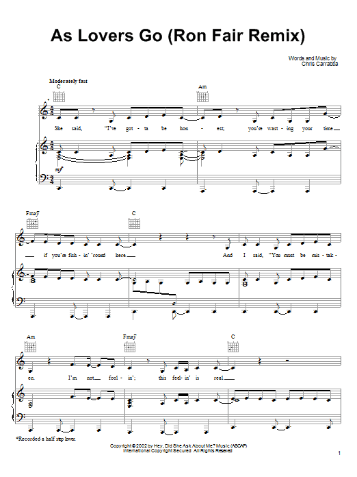 As Lovers Go (Piano, Vocal & Guitar (Right-Hand Melody))