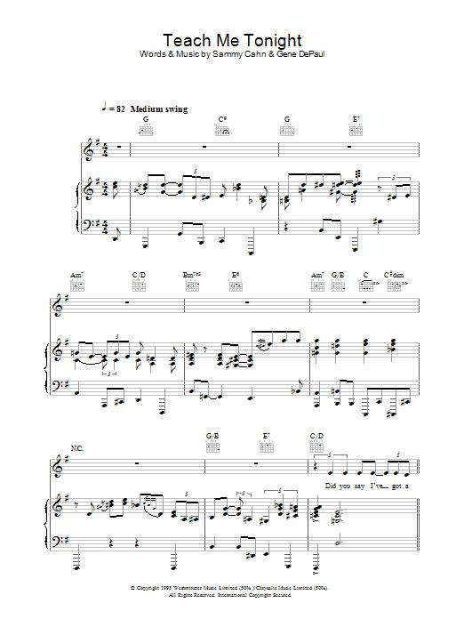 Teach Me Tonight (Piano, Vocal & Guitar)