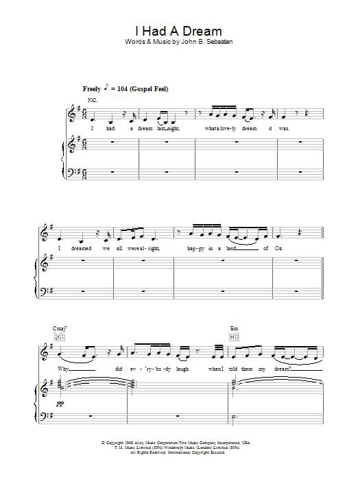 I Had A Dream Sheet Music