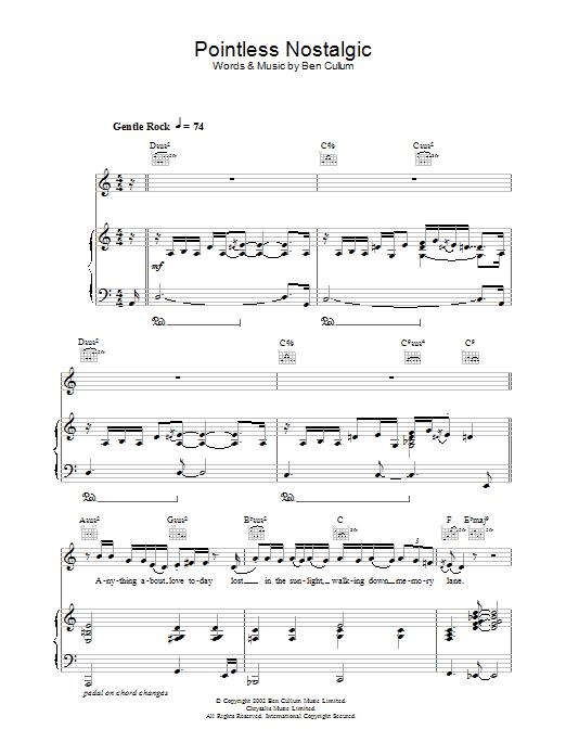 Pointless Nostalgic (Piano, Vocal & Guitar)