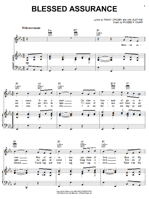Blessed Assurance (Piano, Vocal & Guitar (Right-Hand Melody))