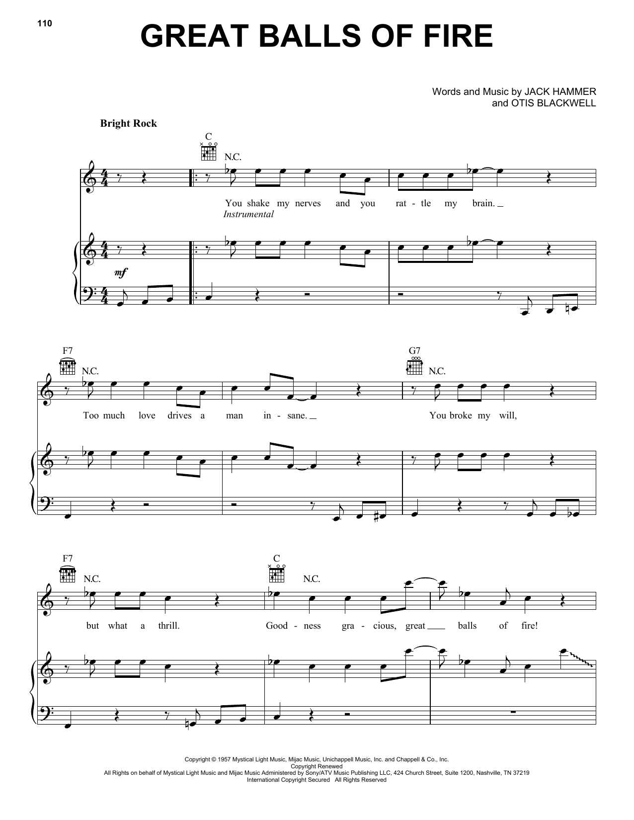 Piano piano tabs great balls of fire : Great Balls Of Fire sheet music by Jerry Lee Lewis (Piano, Vocal ...