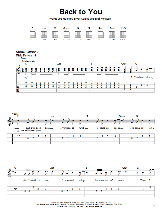 Tablature guitare Back To You de Bryan Adams - Tablature guitare facile