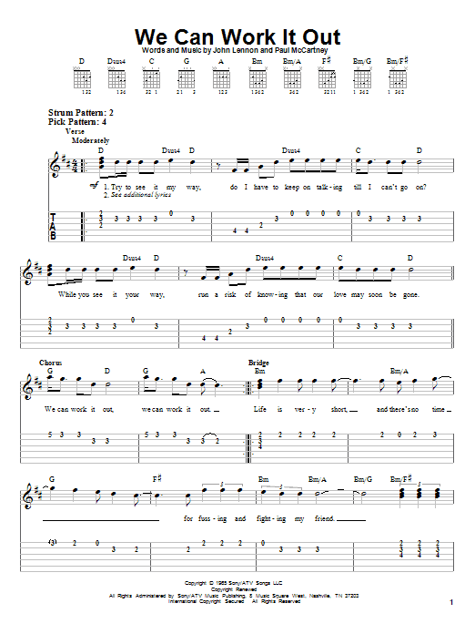 We Can Work It Out By Paul Mccartney Easy Guitar Tab Guitar