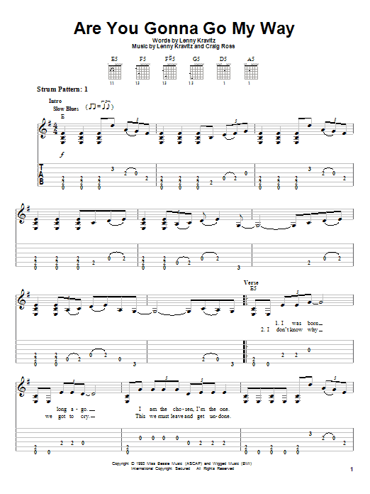 Are You Gonna Go My Way (Easy Guitar Tab)