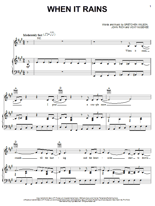 When It Rains (Piano, Vocal & Guitar (Right-Hand Melody))