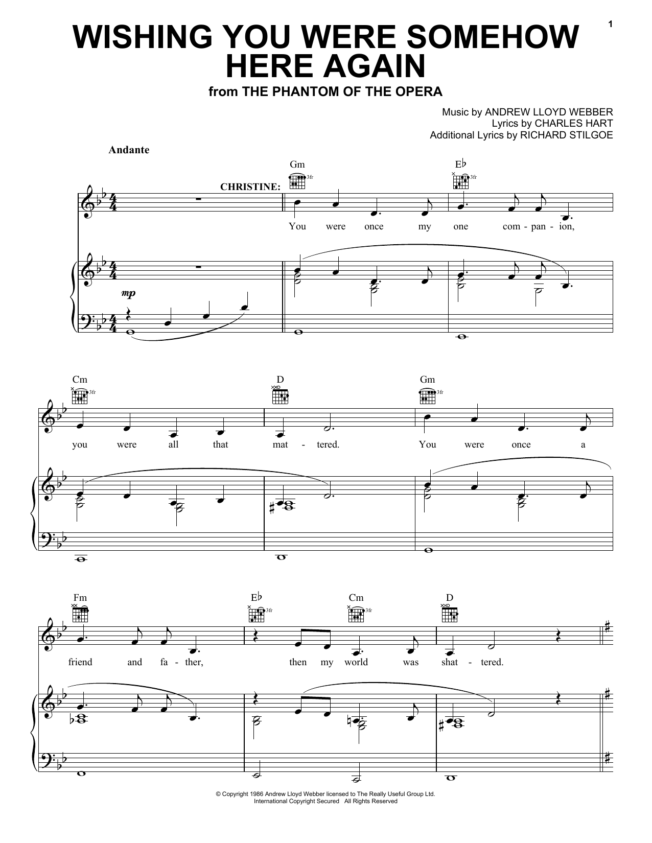 Wishing You Were Somehow Here Again Sheet Music