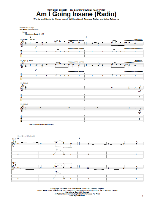 Tablature guitare Am I Going Insane (Radio) de Black Sabbath - Tablature Guitare
